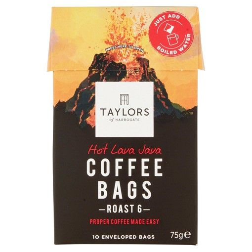 Picture of Taylors of Harrogate Hot Lava Java Coffee Bags 10 Enveloped Bags 75g