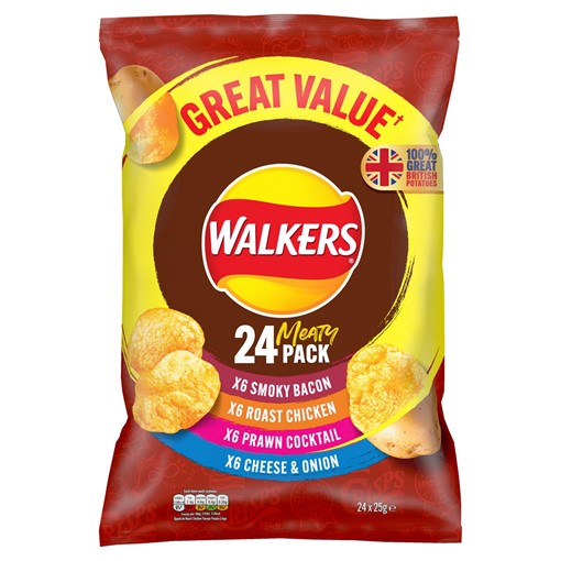 Picture of Walkers Meaty Variety Multipack Crisps 24x25g