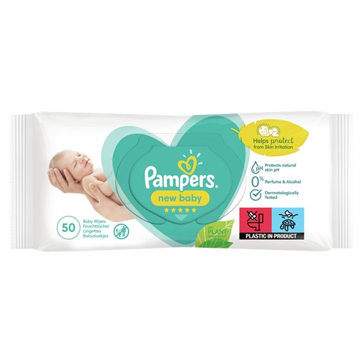 Picture of Pampers New Baby Wipes 1 Pack = 50 Baby Wet Wipes