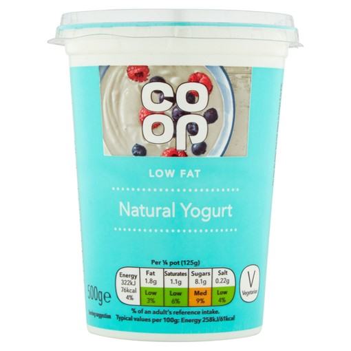 Picture of Co-op Low Fat Natural Yogurt 500g