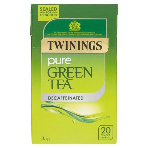 Picture of Twinings Pure Green Tea Decaffeinated 20 Single Tea Bags 35g