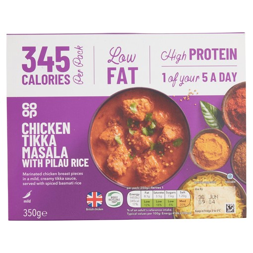 Picture of Co-op Well & Good Chicken Tikka Masala with Pilau Rice 350g