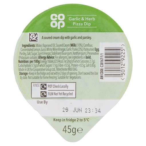 Picture of Co Op Garlic & Herb Pizza Dip 45g