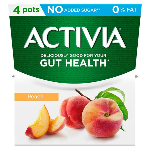 Picture of Activia Peach No Added Sugar 0% Fat Yogurt 4 x 120g (480g)