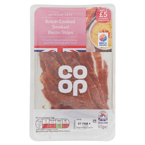 Picture of Co-op British Cooked Smoked Bacon Strips 65g