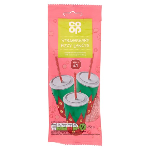 Picture of Co-op Strawberry Fizzy Lances 65g