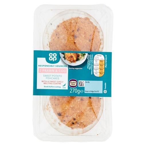 Picture of Co-op 2 Prawn & Cod Sweet Potato Fishcakes with a Sweet Chilli Melting Centre 270g