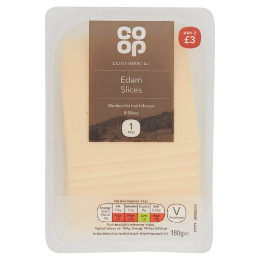 Picture of Co Op 8 Continental Edam Slices 180g