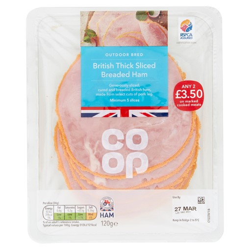 Picture of Co-op British Thick Sliced Breaded Ham 5 Slices 120g