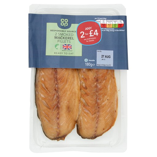 Picture of Co-op 2 Smoked Mackerel Fillets 180g