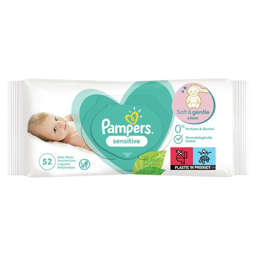Picture of Pampers Sensitive Baby Wipes 1 Pack = 52 Baby Wet Wipes