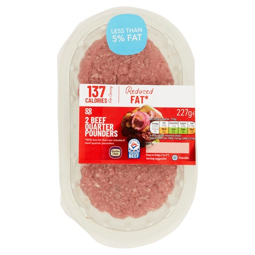 Picture of Co Op British 2 Beef Quarter Pounders 227g