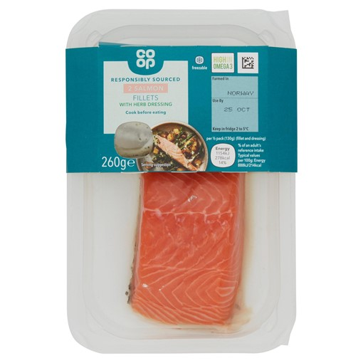 Picture of Co-op 2 Salmon Fillets with Herby Dressing 260g