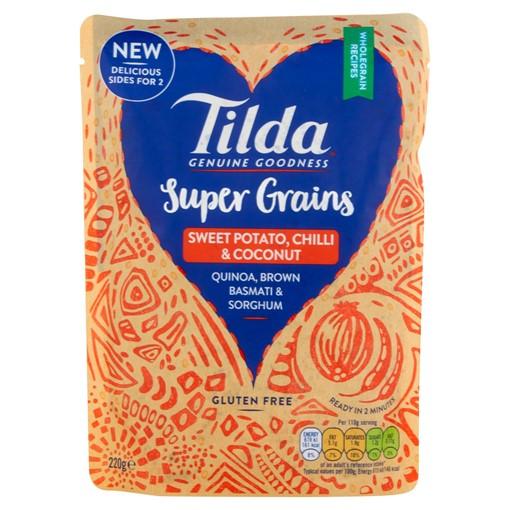 Picture of Tilda Super Grains Sweet Potato, Chilli & Coconut Quinoa & Wholegrain Basmati Rice 220g