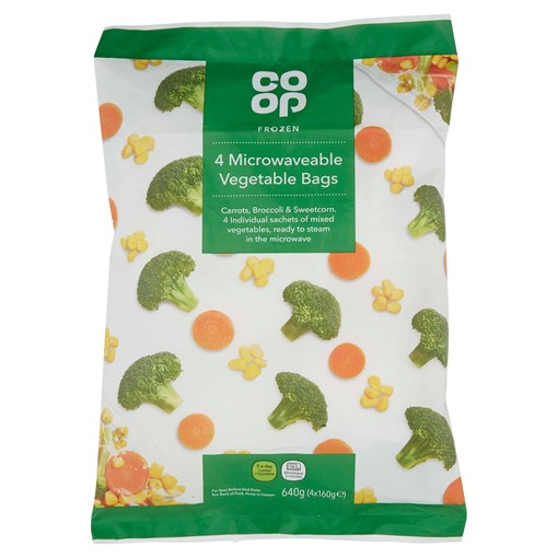 Picture of Co Op Frozen Microwaveable Vegetable Bags 4 x 160g (640g)