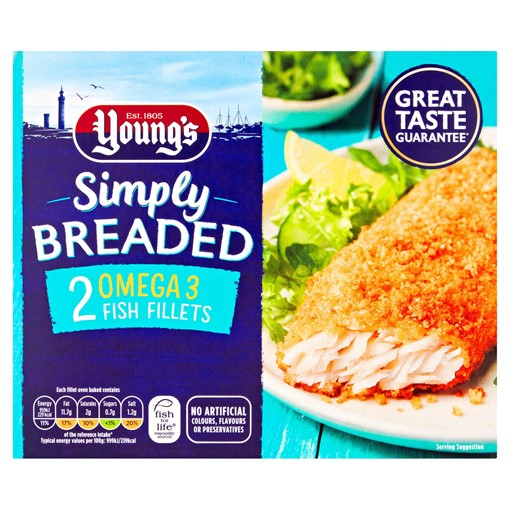Picture of Young's 2 Simply Breaded Fish Fillets in Our Light Crispy Crumb 200g