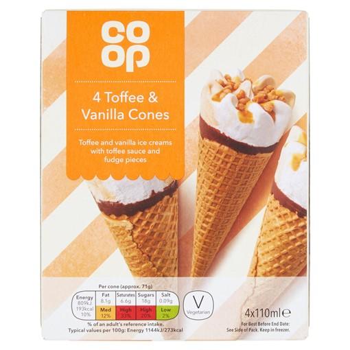 Picture of Co-op Toffee & Vanilla Cones 4 x 110ml