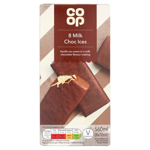 Picture of Co-op Milk Choc Ices 8 x 70ml (560ml)