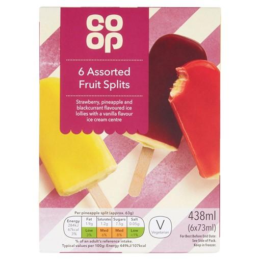 Picture of Co-op Assorted Fruit Splits 6 x 73ml (438ml)