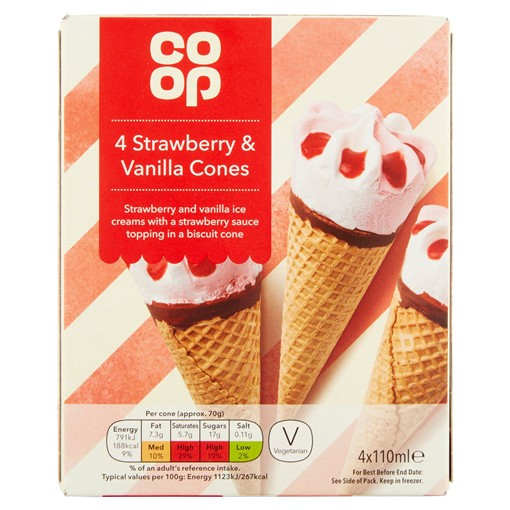 Picture of Co Op Strawberry & Vanilla Cones 4 x 110ml