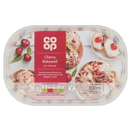 Picture of Co Op Cherry Bakewell Ice Cream 900ml