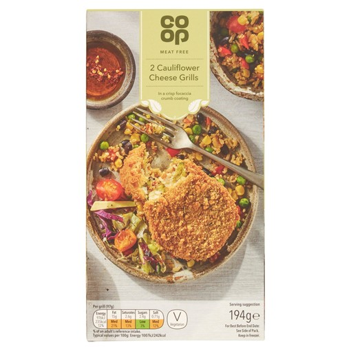 Picture of Co Op Meat Free 2 Cauliflower Cheese Grills 194g