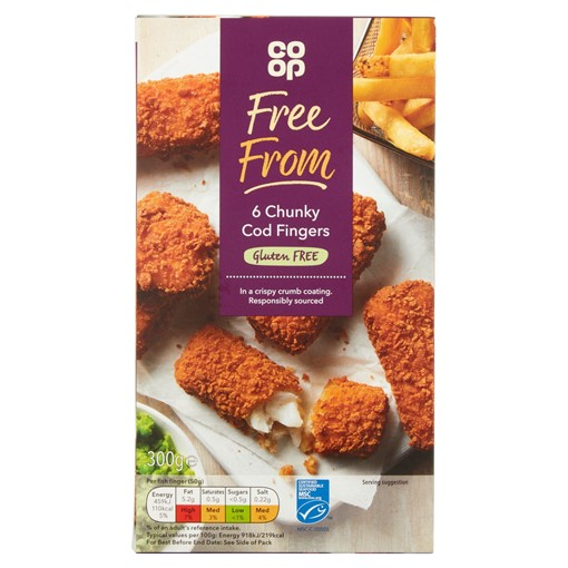 Picture of Co-op Free From 6 Chunky Cod Fingers 300g
