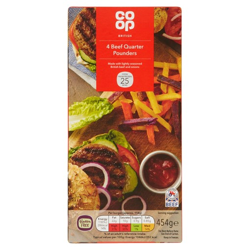 Picture of Co-op 4 British Beef Quarter Pounder 454g