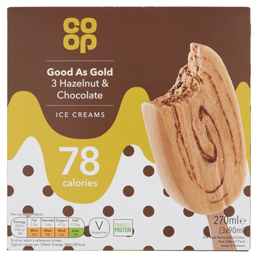 Picture of Co-op Good As Gold 3 Hazelnut & Chocolate Ice Creams 3 x 90ml (270ml)