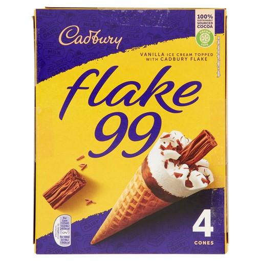 Picture of Cadbury Flake 99 Ice Cream Cones 4 x 125ml