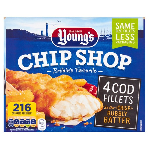 Picture of Young's Chip Shop 4 Cod Fillets 400g