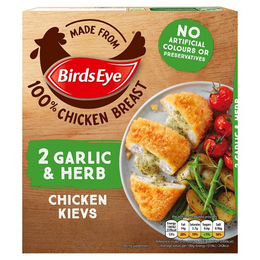 Picture of Birds Eye 2 Garlic & Herb Chicken Kievs 204g