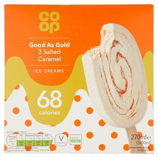 Picture of Co-op Good As Gold Salted Caramel Ice Creams 3 x 90ml (270ml)