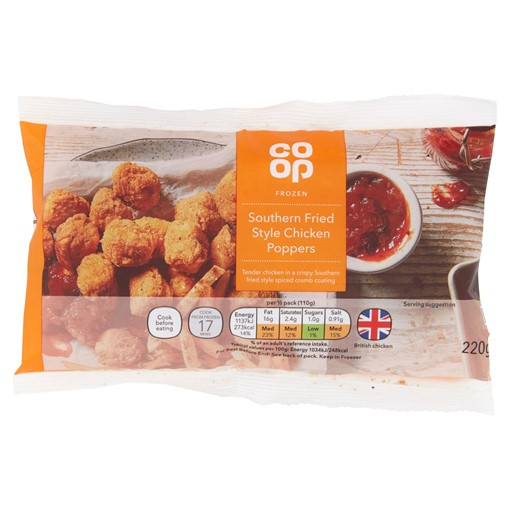 Picture of Co-op Frozen Southern Fried Style Chicken Poppers 220g