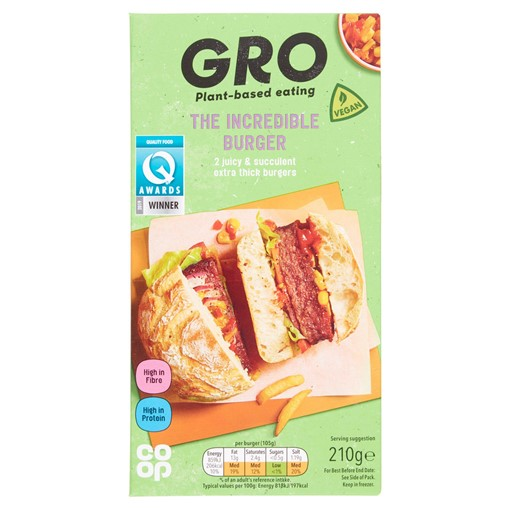 Picture of Co-op GRO The Incredible Burger 210g