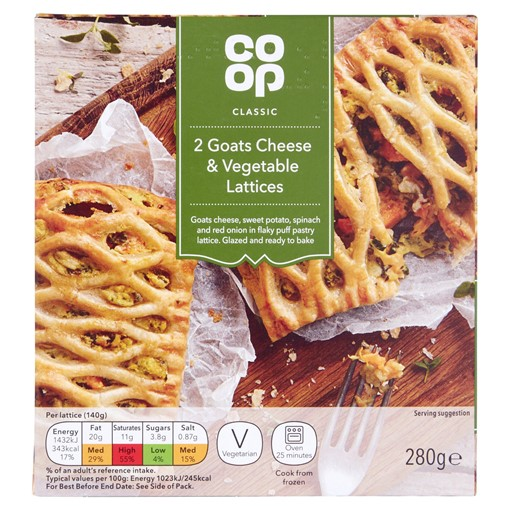 Picture of Co-op Classic 2 Goats Cheese & Vegetable Lattices 280g