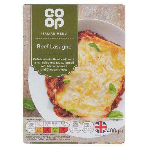 Picture of Co-op Italian Menu Beef Lasagne 400g