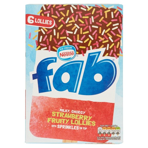 Picture of Fab Strawberry Ice Lollies 6x58ml