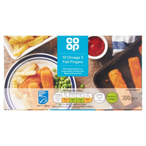 Picture of Co-op 10 Omega 3 Fish Fingers 300g