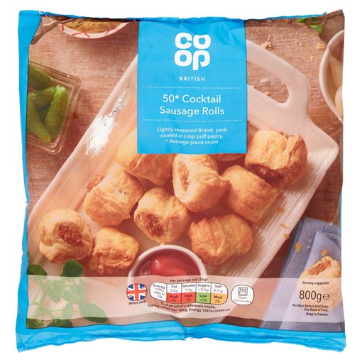 Picture of Co-op British 50 Cocktail Sausage Rolls 800g