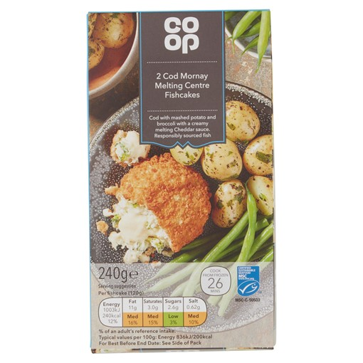 Picture of Co-op 2 Cod Mornay Melting Centre Fishcakes 240g