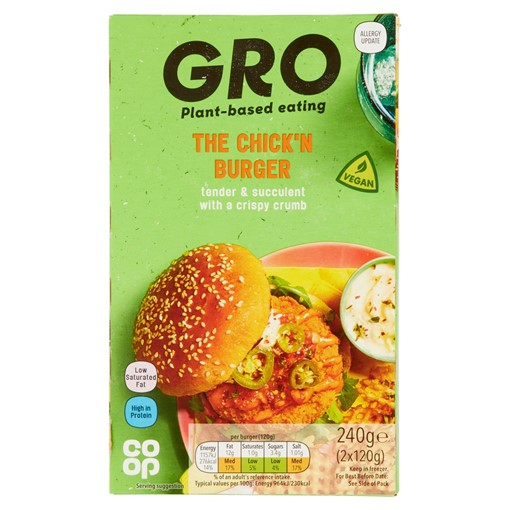 Picture of Co-op GRO The Chick'n Burger 2 x 120g (240g)