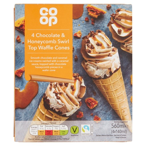 Picture of Co-op Chocolate & Honeycomb Swirl Top Waffle Cones 4 x 140ml (560ml)