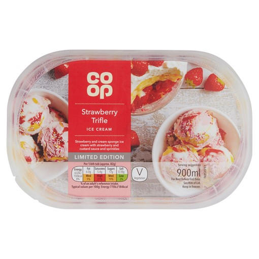 Picture of Co-op Limited Edition Strawberry Trifle Ice Cream 900ml