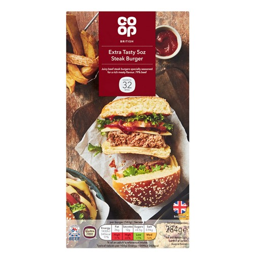 Picture of Co-op British Extra Tasty 5oz Steak Burger 284g