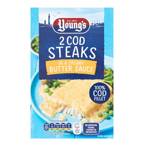 Picture of Young's 2 Cod Steaks in a Creamy Butter Sauce 280g