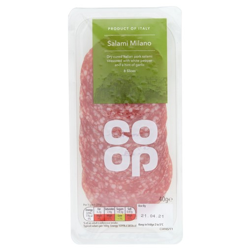 Picture of Co-op Salami Milano 8 Slices 40g