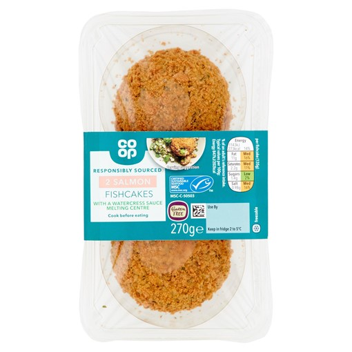 Picture of Co-op 2 Salmon Fishcakes with a Watercress Sauce Melting Centre 270g