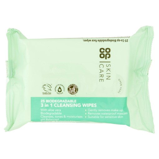Picture of Co-op Skin Care 25 Biodegradable 3 in 1 Cleansing Wipes