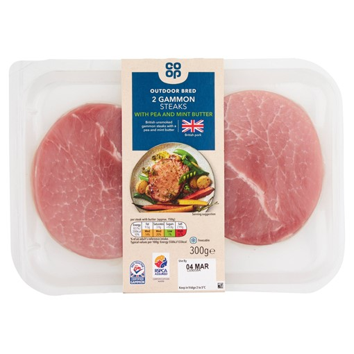 Picture of Co-op Outdoor Bred 2 Gammon Steaks with Pea and Mint Butter 300g
